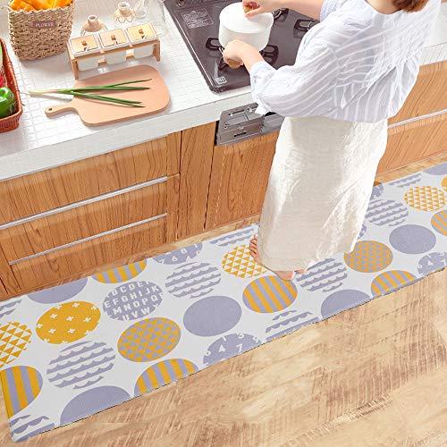 BaibuHomeキッチンマット45×120はっ水防汚防炎低反発クッション洗濯いらずずれない台所マット水や油汚れもさっと拭くだけ