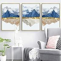 HDモダンマウンテンランドスケープポスターキャンバス絵画ウォールアートプリントリビングルームの家の装飾のための装飾的なインテリア写真-60x90cmx3フレームなし