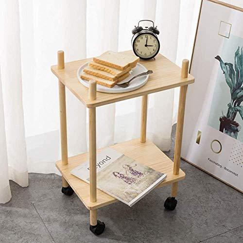Bath chair Lsqdwy - Mesa auxiliar móvil de café, mesita de noche de 2 niveles, mesa de noche de madera con acabado versátil, carrito de almacenamiento organizador CHFYG