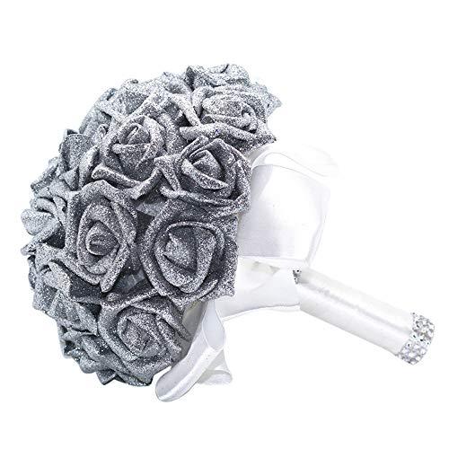 Wffo Flores Artificiales, Rosas de Cristal, Perlas para Dama de Honor, Ramo de Novia, Flores Artificiales de Seda