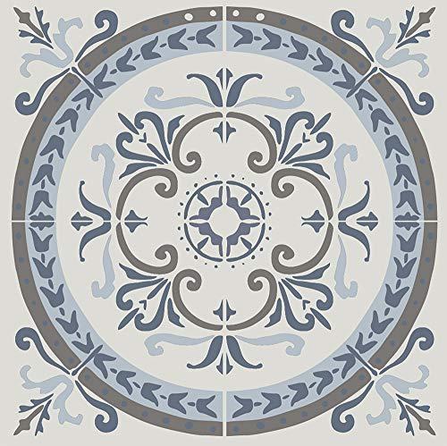 269505 Cement Coimbra tegeldecoratie zelfklevende koepel [4 tegels], grijs blauw, 15 x 15 cm