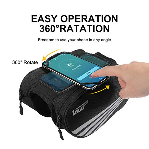VUP Bike Front Frame Bag, Universal Bicycle Motorcycle Handlebar Bag, Top Tube Bike Bag wit   h 360° Rotation Cell Phone Holder for iPhone 11 Pro/XS MAX/XR/X/7/8 Plus, Galaxy S9/8/7/6/Note, Nubia, Huawei