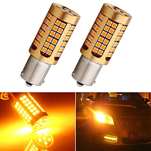 EverBright 2200Lumens 7507 Led Bulb, No Hyper Flash BAU15S PY21W 5009 12496 Front Rear Turn Signal Bulb, Canbus Error Free Led Turn Signal Lights Amber Yellow 3030 Chipset 78SMD (Pack of 2)
