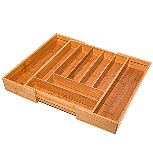 simpdecor Range-Couverts Extensible en Bambou de 7 à 9 Compartiments Organiseur de Tiroir Réglable Pratique(53x41x5cm)