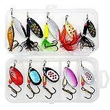 YMOMY 10 Unids Spinner Bait Set Treble Hooks Cebo De Cebo Artificial Cebo De Metal con Cajas De Lentejuelas Cebos para La Pesca De Agua Salada De Agua Dulce (Color : D)