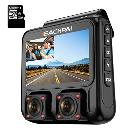 Dual Dash Cam 3.0'' LCD Full HD1920x1080P Front and Rear Sony Sensor Car Camera GPS Infrared Super Night Vision G-Sensor FREE 32GB Card EACHPAI X100 for Uber Lyft Taxi