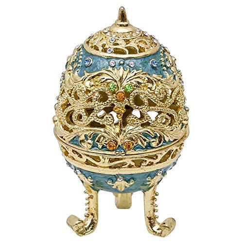 aubaho Oeuf décoratif de Collection - boîte à Bijoux/à pilules - Style Antique - métal/Alliage Plomb-étain
