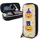 Calabazas y dulces de Halloween Bolsas de almacenamiento de bolsas de cuero de PU Bolsas portátiles de papelería para estudiantes Bolsas de oficina Bolsas con cremallera Maquillaje