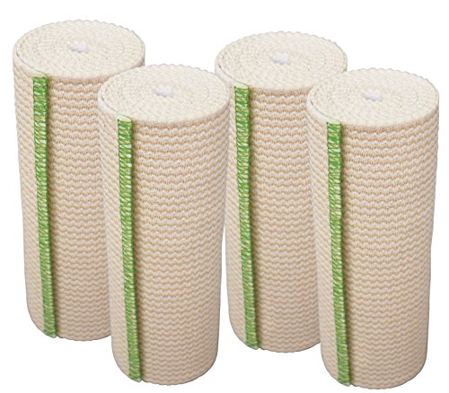 GT USA Organic Cotton Elastic Bandage Wrap (6' Wide, 4 Pack) | Hook & Loop Fasteners at Both Ends | Latex Free | Hypoallergenic Compression Roll for Sprains & Injuries