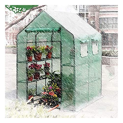 Greenhouses For Outdoors Walk-in Green House with Window Ventilation Multiple Shelves Load Bearing Anti-UV Greenhouse Cover, 3 Colors (Color : Green, Size : 143x143x195cm)