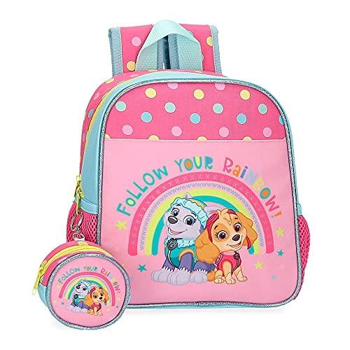 Nickelodeon Paw Patrol Follow Your Rainbow, Zaino della Scuola Materna, 23 x 25 x 10 cm Poliestere 5.75 L, Rosa
