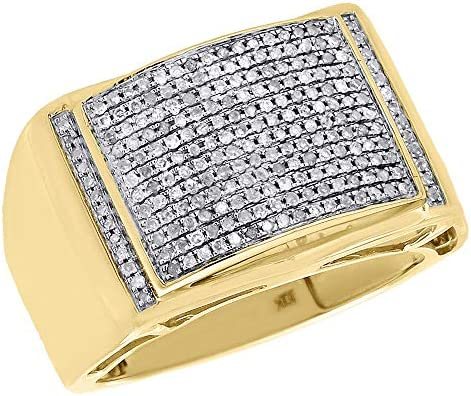 10K Yellow Gold Genuine Round Diamond Domed Pinky Ring Mens Pave Band 0 50 Ct product image