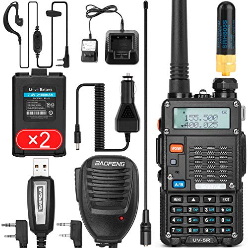 Ham Radio Walkie Talkie (UV-5R 8W) Dual Band 2-Way Radio with 2 Rechargeable 2100mAh Battery Handheld Walkie Talkies Complete Set with Earpiece and Programming Cable. Buy it now for 59.99