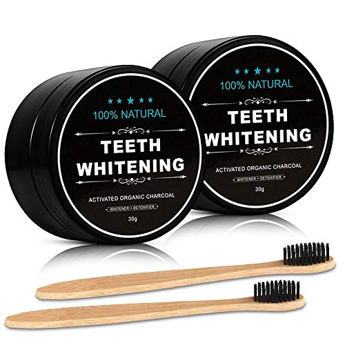 2-Pack Activated Charcoal Teeth Whitening Powder Natural Coconut Teeth Whitener with Bamboo Brush by Nimiah