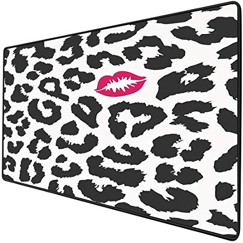 Mouse Pad Gaming Funktionale Safari Dick Wasserdichte Desktop-Maus Matte Leopard Cheetah Animal Print mit Kussform Lippenstift Mark Dotted Trend Artwork Dekorativ, Schwarz Weiß Rot Rutschfeste Gummiba