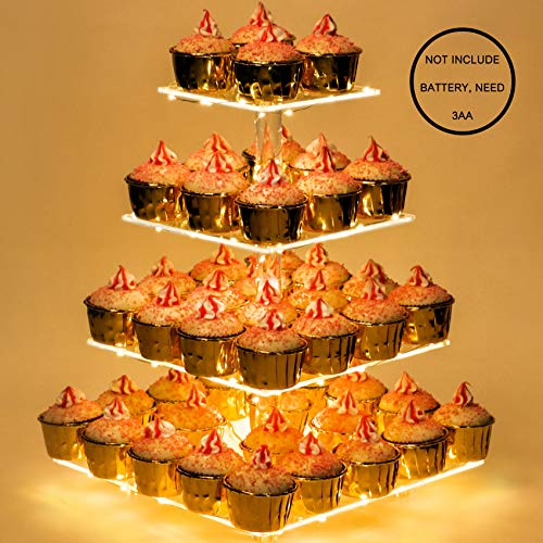 Weddingwish Acrylic Cupcake Stand with Lights, Cupcake Dessert Display Holder for Wedding, Party, Baby Shower, 4 Tier Square, Yellow