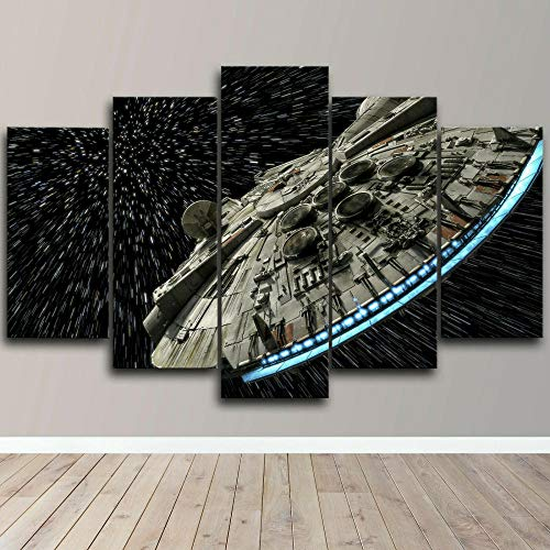 GSDFSD Art Prints - Star Wars Millennium Falcon movie - Wall Pictures Living Room Decor 5cs/set - Contemporary Pictures Paintings - Modern Landscape Artwork - Frameless