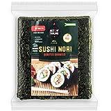 Best of Thailand Organic Sushi Nori Seaweed Sheets | Resealable Bulk Bag 50 Full Nori Sheets for Sushi | Premium Roasted Kosher Korean Seaweed | Non-GMO Vegan Dried Seaweed | All-Natural Keto-Friendly