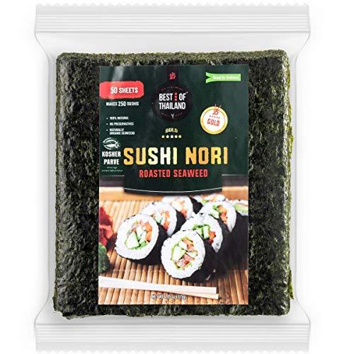 Best of Thailand Organic Sushi Nori Seaweed Sheets   Resealable Bulk Bag 50 Full Nori Sheets for Sushi   Premium Roasted Kosher Korean Seaweed   Non-GMO Vegan Dried Seaweed   All-Natural Keto-Friendly