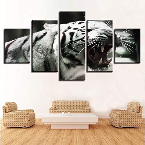 LIBIHUA Arte Moderno Cartel Marco Pintura Modular 5 Piezas Tiger Bostezo Lienzo Imágenes Decoración del Hogar Sala De Estar Pared Animales Impresiones 150x80cm Marco