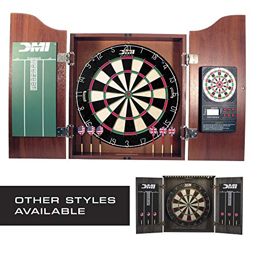 DMI Sports Bristle Dartboard Cabinet Sets - Includes LED Lighting or Electronic Scoring Option