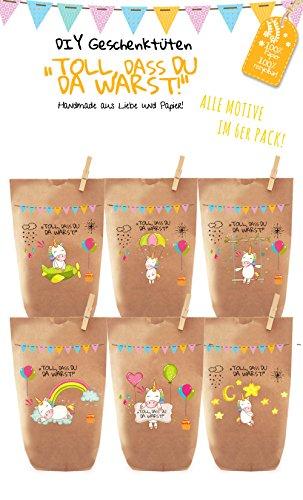 Paul´s Papierfabrik 6X Einhorn Geschenktüten, Papiertüten liebevoll Bedruckt, zum Verpacken von Kinder Geschenken, Gastgeschenken, Mitgebsel, Giveaways, Kindergeburtstag, Hochzeit