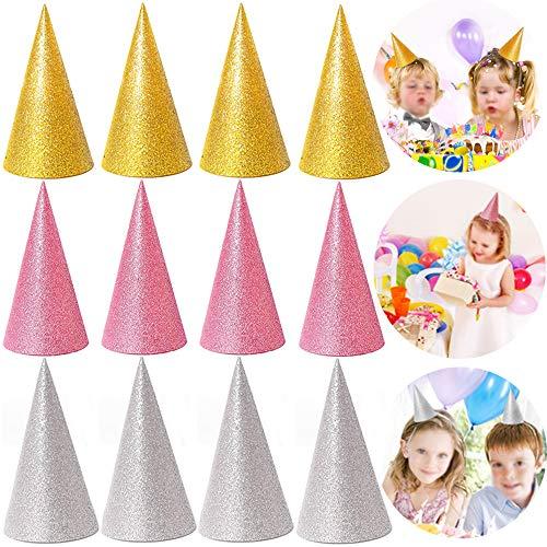 Xinlie Partyhüte Geburtstag Hüte Kronen Set Party Kegel Hüte Partyhütchen Partyhüte Schöne Kuchen Kegel Geburtstag Papier Hüte Glänzend für Kinder und Erwachsene, Spaß Geburtstag Party Hüte(12 Stück)