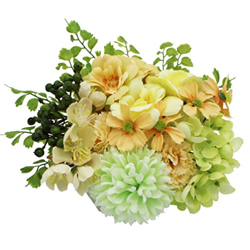 Lumiphire Artificial Flower Arrangement in Pot Home Decor Accessories Living Room Table Centrepiece Ornaments Mother's Day Thank You Birthday Presents Gifts for Mum Camelia Hydrangea 15cm Green