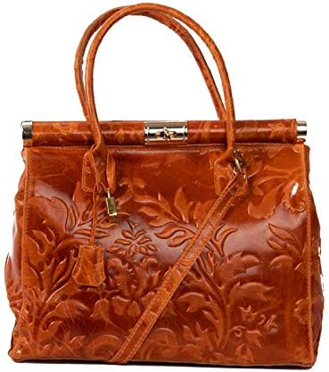 Italian Orange Floral Tooled Leather Classic Style Handbag With 3 Compartments