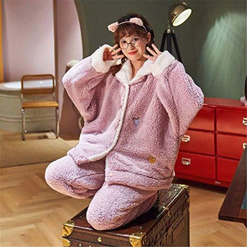 Conjunto De Pijamas Para Mujeres,Invierno Rosa Cálido Espesa Pajama Conjuntos Para Las Mujeres Más Tamaño De Manga Larga Franela Ropa De Dormir Dulce Pyjama Comfort Leisure Ropa De Hogar Holgada, X