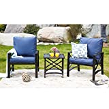 LOKATSE HOME 3 Piece Patio Conversation Set Outdoor Furniture with Coffee Table, Chair, Blue