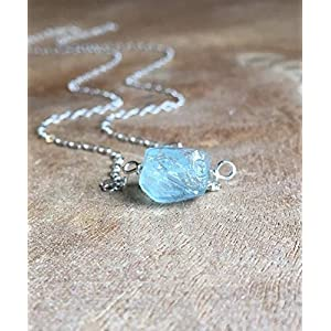 Dainty Raw Aquamarine Necklace 16 Inch Sterling Silver Chain March Birthstone Jewelry Gift