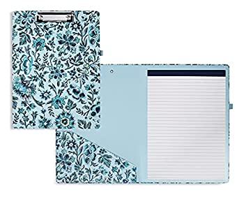 Vera Bradley Women s Blue Floral Clipboard Folio with Refillable Lined Notepad Interior Pocket and Pen Loop Cloud Vine
