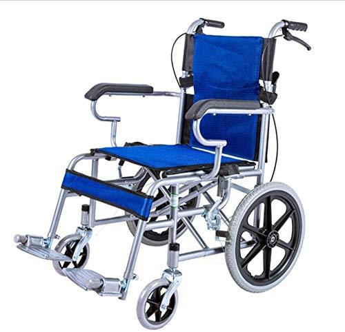 Sillón Silla de transporte ligero, silla de ruedas plegable con freno de mano de bloqueo, rueda trasera de 14 pulgadas, no involuntable, carretilla de scooter portátil para niños mayores (Color: Azul)