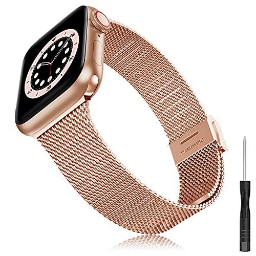 Correa Compatible con Apple Watch Correa 38mm 40mm 42mm 44mm, iWatch Pulsera de Repuesto de Hebilla Ajustable Acero Inoxidable Fina Correa para iWatch Series SE 6 5 4 3 2 1