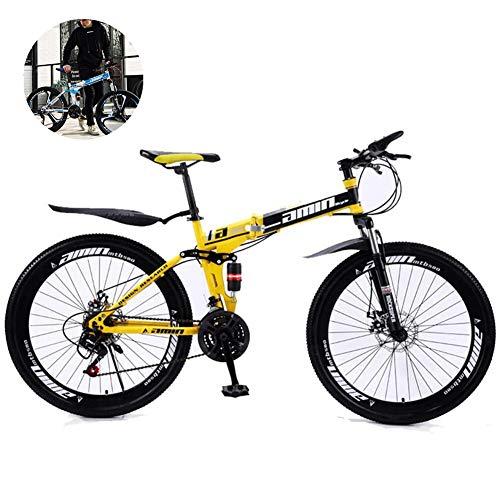GOLDGOD Vélo De Montagne De 26 Pouces, Vélo 21 Vitesses À Vitesse Variable Vélos Tout Suspendu pour Adultes Vélo Pliant À Double Disque en Acier À Haute Teneur en Carbone,Jaune,26inch