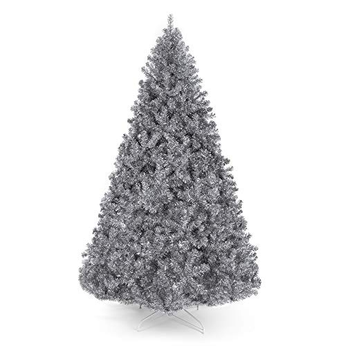 Best Choice Products 6ft Artificial Silver Tinsel Christmas Tree Holiday Decoration w/ 1,477 Branch Tips and Foldable Stand