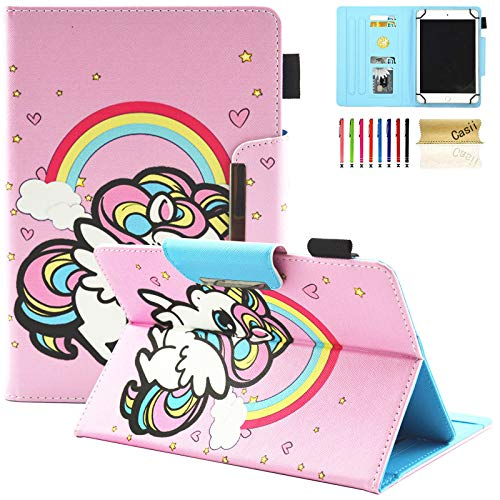Casii Universal Slim Case for 10 Inch Tablet, [Cards Slots] Protective Colorful Leather Kickstand Shell for 9.5-10.5 Inch Apple iPad,Kindle,Samsung Galaxy,Huawei,Lenovo,Asus Tablet, Rainbow Unicorn
