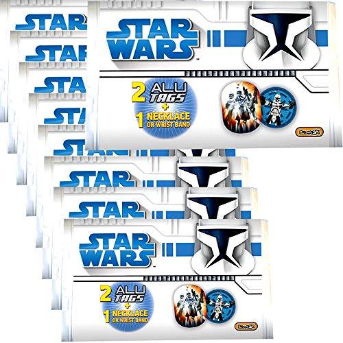 TE-Trend 9 Piezas Piñata Star Wars Clone Wars Collar Pulsera Aluminio Tag Placas Regalo