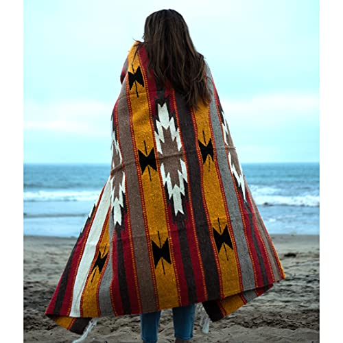 Wool Mexican Blanket - Southwest Print Geometric Design- Handwoven Vintage Wall Tapestry / Throw Blanket from Mexico / Beach Blanket / Mexican Picnic Blanket / Thick Yoga Blanket (Southwestern Desert)