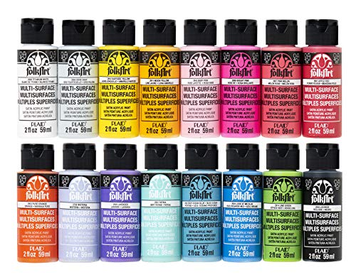 FolkArt 16 Piece Multi Surface Acrylic Craft Paint Set Formulated to be Non-Toxic that is Perfect for Beginners and Artists, Bright Colors Count