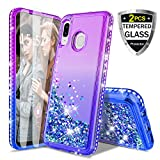 Donse Samsung Galaxy A20/30 Case,W[ 2Tempered Glass Screen] Glitter Liquid Diamond Quicksand Floating Shiny Sparkle Flowing Bling Luxury Clear Cute Case Cover for Girls Women Purple/Blue