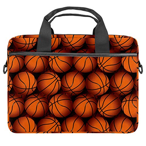 13.4-14 Inch Laptop Bag,Multifunctional Laptop Case,Portable Sleeve Briefcase,Adjustable Shoulder Strap Basketball Texture