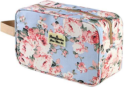 Borsa da toilette per donna Borsa cosmetica portatile Grandi articoli da toeletta Organizer Borsa per il lavaggio Kit Borsa da viaggio per trucco per ragazze Custodia cosmetica floreale (Azzurro)