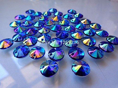 Courroie Perles rondes 10 mm à coudre Acrylique Strass du cou avec incrustation Plat Pierre 300 pcs/lot N17 bleu