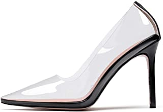 """YODEKS Women's Transparent High Heel Pumps Pointed Toe Clear Slip On 4"""" Stiletto High Heel Sandals Shoes for Wedding Business Party Dress"""