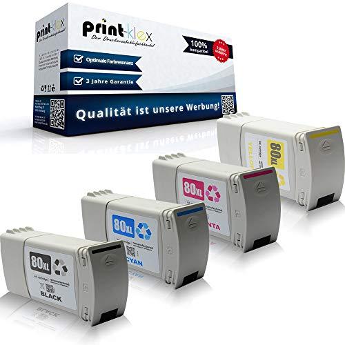 Print-Klex 4x Kompatible Tintenpatronen für HP DesignJet 1050C 1050CPlus 1055CM 1055CMPluss C 4871A C 4846A C 4847A C 4848A HP 80BK HP 80C HP 80M HP 80Y Schwarz Blau Rot Gelb - Office Pro Serie