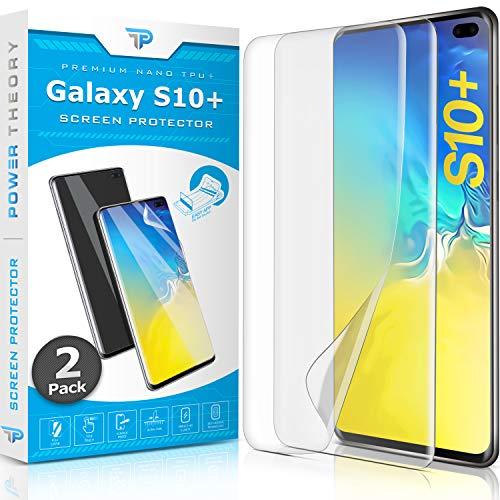 Power Theory Schutzfolie für Samsung Galaxy S10 Plus [2 Stück] - [KEIN Glas] 3D Nano-Tech Panzerglasfolie, Panzerglas Folie, 100% Fingerabdrucksensor, Einfache Installation, Displayschutz Panzerfolie