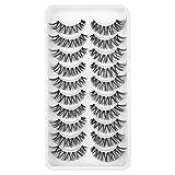 Newcally False Eyelashes Natural Soft Light Volume Wispy Handmade Faux Lashes 10 Pairs Multipack