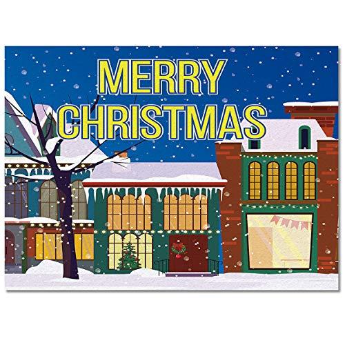 Merry Christmas Winter Street Snowy Area Rug 2.7'x5' Non-Slip Floor Mat Bedroom Living Room Rug for Children Kids Adults Soft Rectangular Carpet for Indoor Home Decor